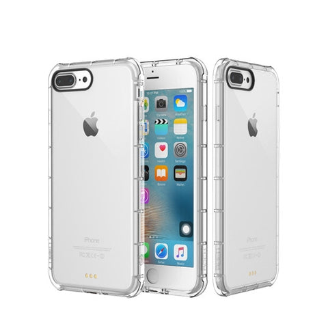 Rock for iPhone 7 Plus Fence Series Drop Protection Case Transparent Soft TPU Air Sacs Shockproof Protective Back Case(Transparent)