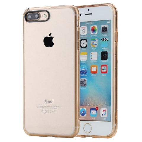 Rock for iPhone 7 Plus Pure Series Concise Style Ultrathin Transparent TPU + PC Protective Back Case(Gold)