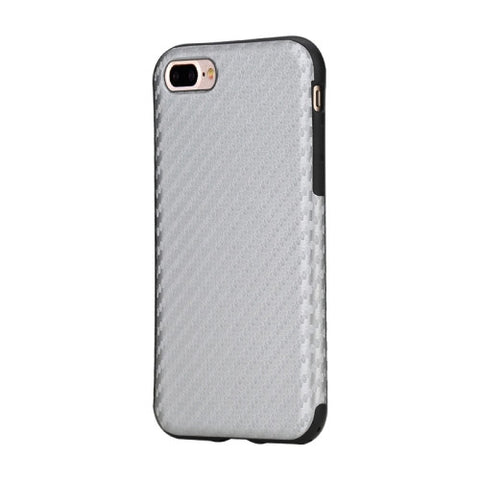 Rock for iPhone 7 Plus Natural Series Artistic Carbon Fibre Texture PU + TPU Protective Back Case(Silver)