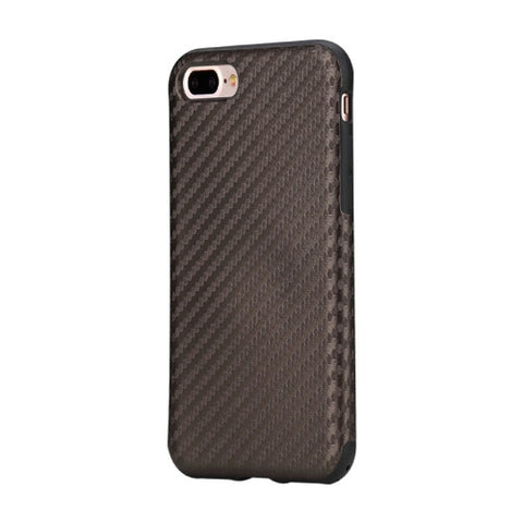 Rock for iPhone 7 Plus Natural Series Artistic Carbon Fibre Texture PU + TPU Protective Back Case(Brown)