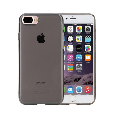 Rock for iPhone 7 Plus Transparent Ultrathin Soft TPU Protective Back Case without USB Anti-Dust Plug(Black)