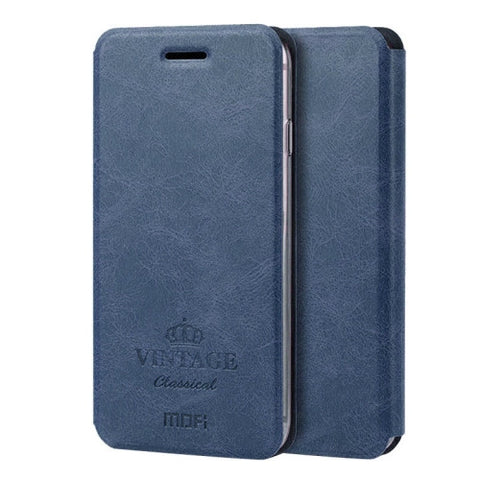 MOFI VINTAGE for iPhone 7 Plus Crazy Horse Texture Horizontal Flip Leather Case with Card Slot & Holder(Dark Blue)