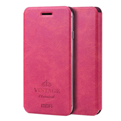 MOFI VINTAGE for iPhone 7 Plus Crazy Horse Texture Horizontal Flip Leather Case with Card Slot & Holder(Magenta)
