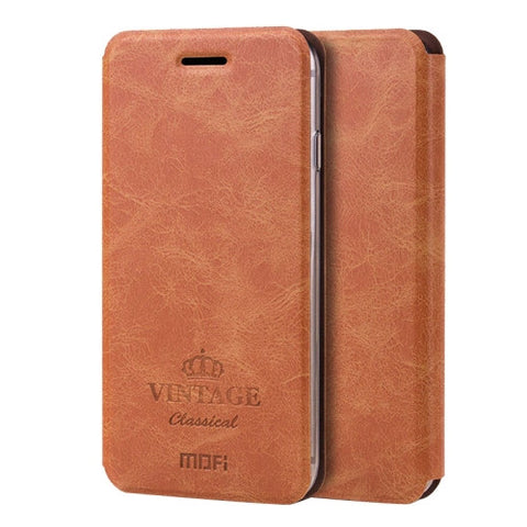 MOFI VINTAGE for iPhone 7 Plus Crazy Horse Texture Horizontal Flip Leather Case with Card Slot & Holder(Brown)