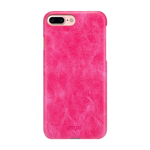 MOFI for iPhone 7 Plus Crazy Horse Texture Leather Surface PC Protective Case Back Cover(Magenta)