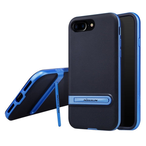 NILLKIN Youth Case for iPhone 7 Plus Concise Style Emboss Texture TPU + PC Protective Case Back Cover with Holder(Blue)