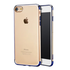 Baseus for iPhone 7 Electroplating Soft Transparent TPU Protective Back Cover Case(Dark Blue)
