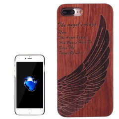For iPhone 7 Plus Artistic Carving Angel Wing Pattern Rosewood + PC Bordure Protective Back Case Shell