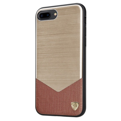 NILLKIN LENSEN CASE for iPhone 7 Plus Business Style Brushed Texture Metal + Leather Surface PC Protective Case Back Cover with Soft TPU Frame(Gold)