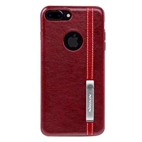 NILLKIN Phenom Case for iPhone 7 Plus Business Style Leather Surface PC Protective Case Back Cover with Soft TPU Frame & Magnetic Meatl Holder (Red)