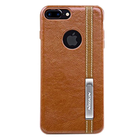 NILLKIN Phenom Case for iPhone 7 Plus Business Style Leather Surface PC Protective Case Back Cover with Soft TPU Frame & Magnetic Meatl Holder (Brown)