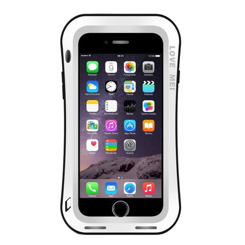 LOVE MEI for iPhone 7 Plus Waistline Triobump Professional and Powerful Dustproof Shockproof Anti-slip Metal Protective Case(White)