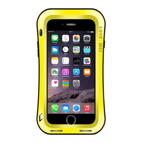 LOVE MEI for iPhone 7 Plus Waistline Triobump Professional and Powerful Dustproof Shockproof Anti-slip Metal Protective Case(Yellow)