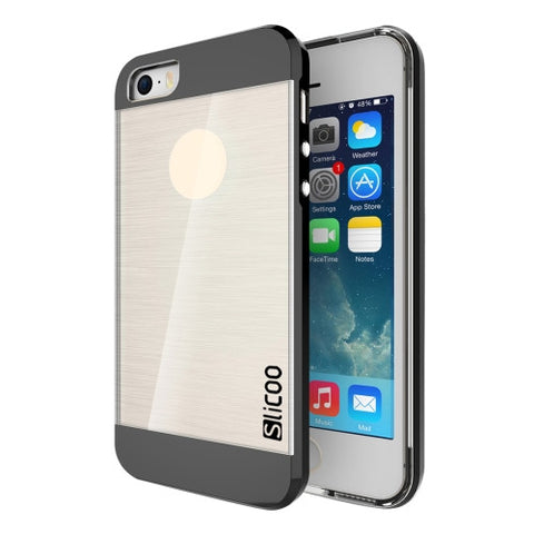 SLiCOO Concise Fashion Separable Brushed Texture Transparent TPU + Electroplating PC Combination Case for iPhone 5 & 5s & SE(Black)