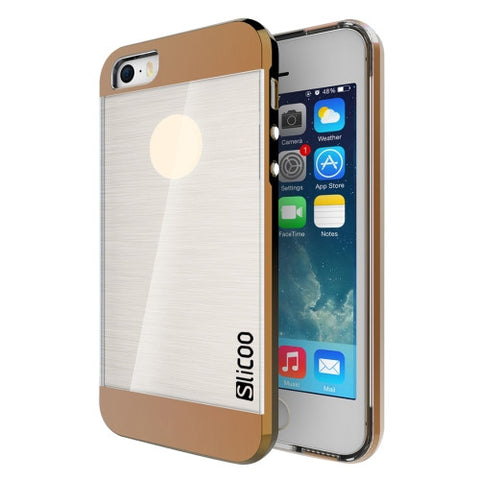 SLiCOO Concise Fashion Separable Brushed Texture Transparent TPU + Electroplating PC Combination Case for iPhone 5 & 5s & SE(Coffee)