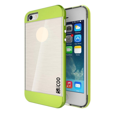SLiCOO Concise Fashion Separable Brushed Texture Transparent TPU + Electroplating PC Combination Case for iPhone 5 & 5s & SE(Green)