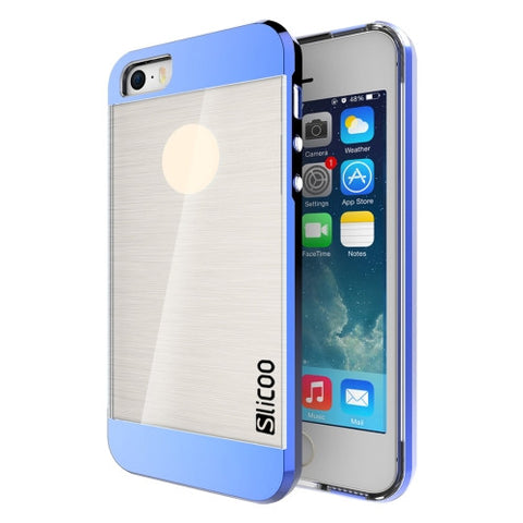 SLiCOO Concise Fashion Separable Brushed Texture Transparent TPU + Electroplating PC Combination Case for iPhone 5 & 5s & SE(Blue)