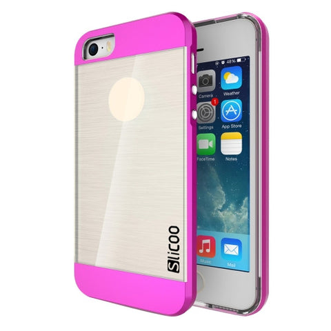 SLiCOO Concise Fashion Separable Brushed Texture Transparent TPU + Electroplating PC Combination Case for iPhone 5 & 5s & SE(Magenta)