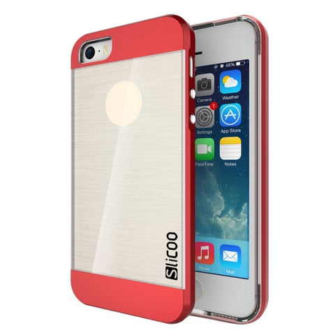 SLiCOO Concise Fashion Separable Brushed Texture Transparent TPU + Electroplating PC Combination Case for iPhone 5 & 5s & SE(Red)