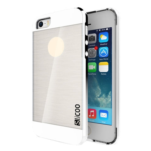 SLiCOO Concise Fashion Separable Brushed Texture Transparent TPU + Electroplating PC Combination Case for iPhone 5 & 5s & SE(Silver)