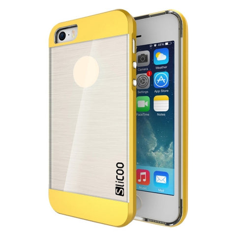 SLiCOO Concise Fashion Separable Brushed Texture Transparent TPU + Electroplating PC Combination Case for iPhone 5 & 5s & SE(Yellow)
