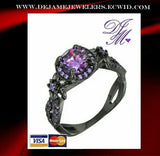 Black Collection - Vintage Rings Round Purple Amethyst Inlay 10Kt black gold filled (Size 7 ; 9) - Zasttra.com - 1