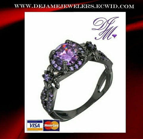 Black Collection - Vintage Rings Round Purple Amethyst Inlay 10Kt black gold filled (Size 8)