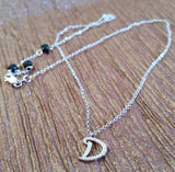 925 Sterling Silver Letter 'D' Pendant with CZs and rolo style Necklace