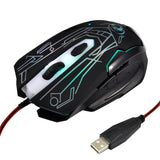 ESTONE X6 LED Colorful Light USB 6 Buttons 2400 DPI Wired Optical Gaming Mouse for Computer PC Laptop(Black)