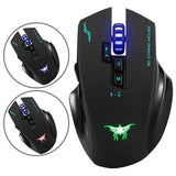 Combatwing W100 Rechargeable 2.4G Wireless Wired Gaming Mouse Optical Mice with 4 Adjustable DPI Levels & 8 Buttons & 3 Colors Breathing Lights for PC Laptop Computer Desktop and Macbook(Black)