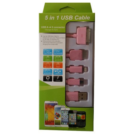 Usb Mobile Data Cable 5 In 1 Pink