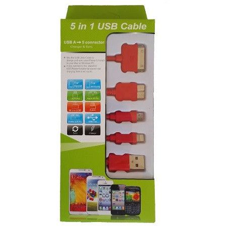 Usb Mobile Data Cable 5 In 1 Red