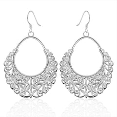 925 Sterling silver filled Ladies dangle earrings with Stunning filigree design work