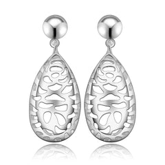 925 Sterling Silver filled Ladies filigree design drop earrings