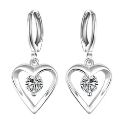 925 Sterling silver filled Ladies dangle heart earrings with center crystal detail
