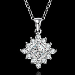 925 Sterling silver filled ladies cluster design pendant with AAA genuine crystals + Free chain