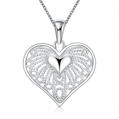 925 Sterling silver filled Ladies heart design pendant with filigree detail and Free chain