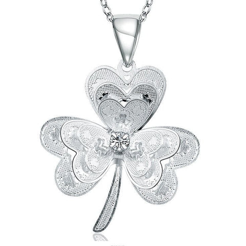 925 Sterling silver filled Ladies Clover design pendant with FREE chain included
