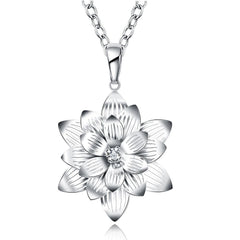 925 Sterling silver filled Chunky Flower design pendant with FREE chain included