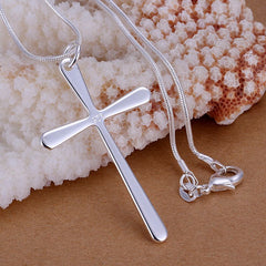 925 Silver filled plain design cross pendant with Free chain included