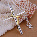 925 Sterling SIlver filled Draped Cross Pendant + Free Chain - Zasttra.com