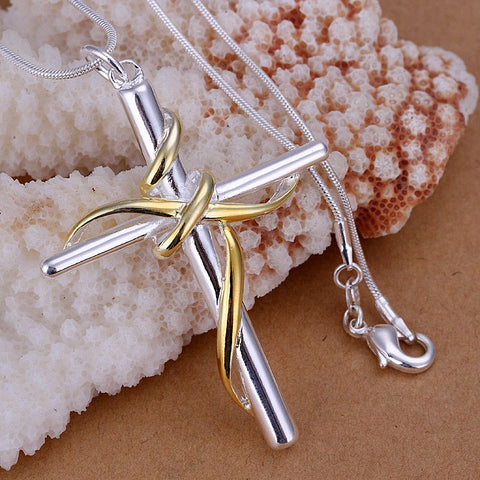 925 Sterling SIlver filled Draped Cross Pendant + Free Chain