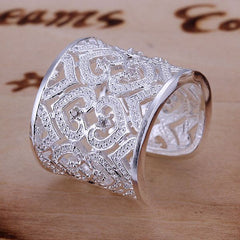 925 Sterling Silver filled stamped Chunky 20mm ladies ring with high detail work