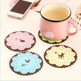 4 Pack Color Lace Silicone Coaster Random Color Delivery (Shape: Round)