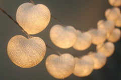 White Heart LED Battery Cotton Ball Lights
