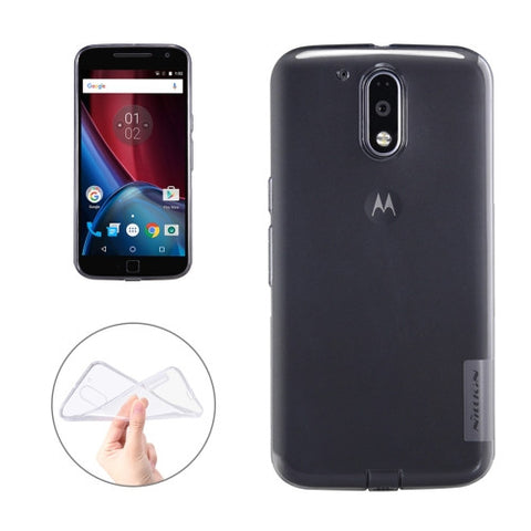 NILLKIN Nature TPU Case for Motorola Moto G Plus (4th Gen.) Stylish 0.6mm Ultrathin Clear Color Soft Protective Case Back Cover(Grey)
