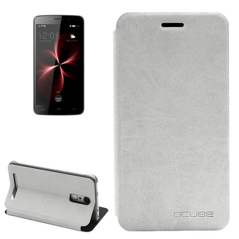 OCUBE HOMTOM HT17 (MPH0045) Lambskin Texture Horizontal Flip Leather Case with Holder(White)