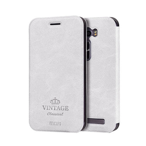 MOFI VINTAGE for Asus ZenFone 2 Laser / ZE500KL Crazy Horse Texture Horizontal Flip Leather Case with Card Slot & Holder & Sleep / Wake-up Function(White)