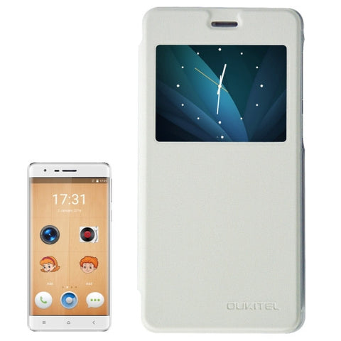 OUKITEL K4000 Lite (MPH0658) Horizontal Flip Leather Case with Call Display ID(White)