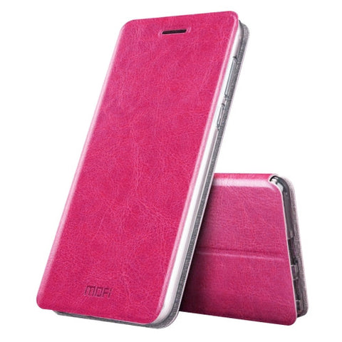 MOFI Xiaomi Mi 5s Plus Crazy Horse Texture Horizontal Flip Leather Case with Holder(Magenta)